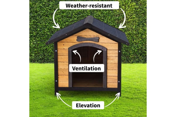 NEATAPET Dog House Kennel Pet Timber Wooden Log Cabin Storage Box Elevated Home