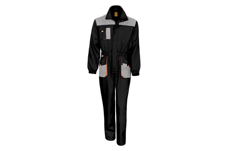 Result Unisex Work-Guard Lite Workwear Coverall (Breathable And Windproof) (Black / Grey / Orange) (L)