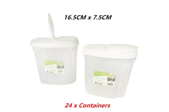 24 x Plastic Flid Top Lid Food Storage Container Cereal Dry Box Bin Snack Rice