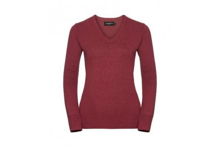 Russell Collection Ladies/Womens V-Neck Knitted Pullover Sweatshirt (Cranberry Marl) (S)