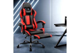 Artiss Gaming Chair Office Computer Seating Racing PU Leather Executive Racer Black Red