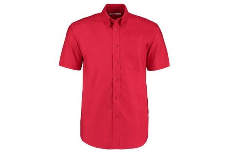Kustom Kit Mens Workplace Short Sleeve Oxford Shirt (Red) (20in)