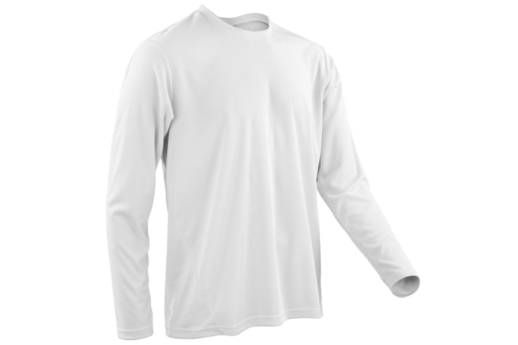 Spiro Mens Sports Quick-Dry Long Sleeve Performance T-Shirt (White) (2XL)