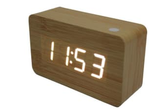 White Led Wood Grain Alarm Clock + Temperature Display Usb/Battery Wood Grain White 6030