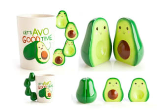 Adorable Novelty Cute Avocado AVO Lovers Salt & Pepper Shakers Coffee Mug Set