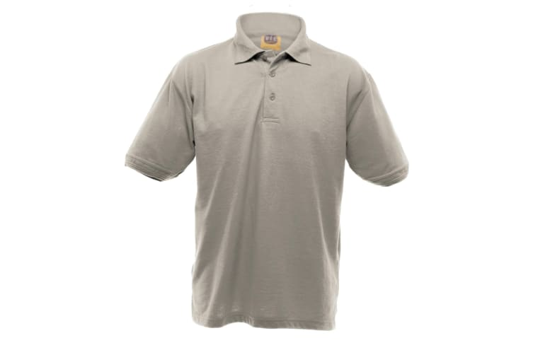UCC 50/50 Mens Heavyweight Plain Pique Short Sleeve Polo Shirt (Heather Grey) (2XL)