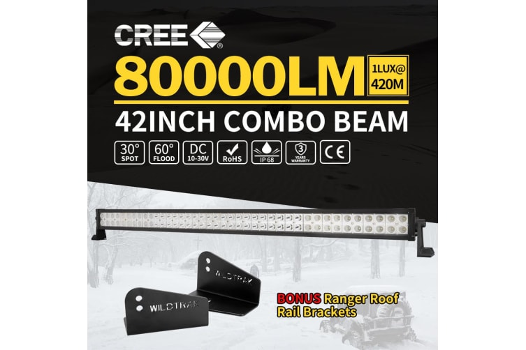 LIGHTFOX 42inch CREE LED Light Bar Spot Flood Offroad w/Rood Light Bar Mounting Bracket