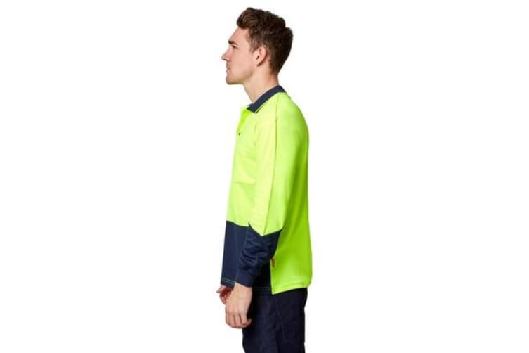 Stubbies Hi-Vis Long Sleeve Polo Top (Yellow, Size S)