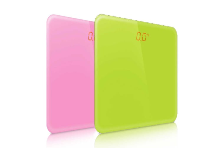 SOGA 2 x 180kg Digital Fitness Weight Bathroom Gym Body Glass LCD Electronic Scale Pink/Green