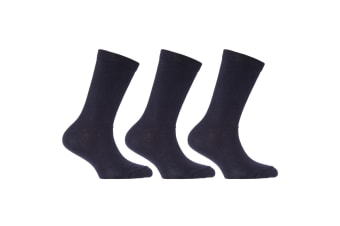 Childrens/Kids Plain Cotton Rich School Socks (Pack Of 3) (Navy) (UK Shoe 6-8.5   Euro 23-26 (Age: 2-4 years))