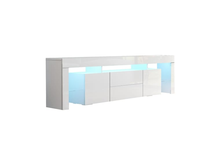 200cm TV Stand Cabinet LED Entertainment Unit Wood Storage Furniture w/2 Drawers & 2 Doors - White