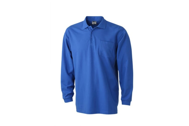 James and Nicholson Unisex Long-Sleeved Pique Polo (Royal Blue) (XL)