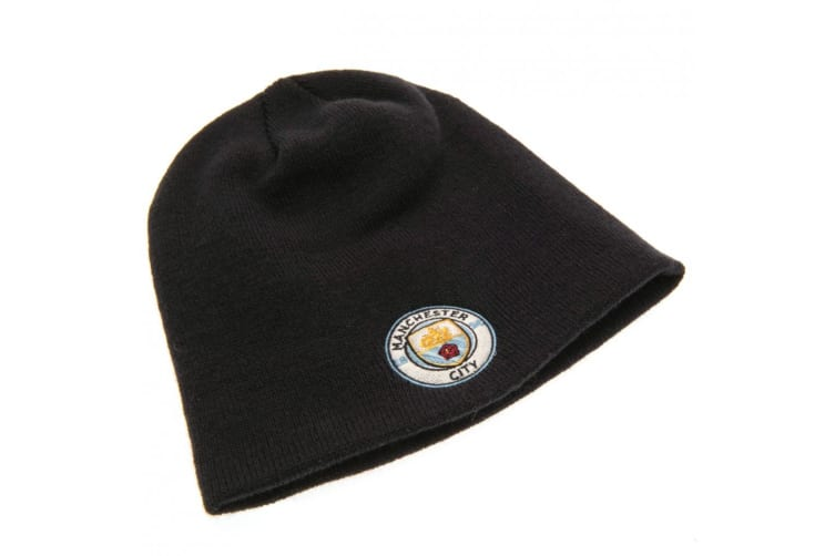 Manchester City FC Official Adults Unisex Knitted Hat (Navy) (One Size)
