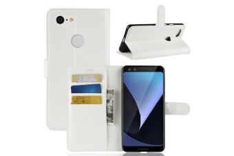 For Google Pixel 3 Leather Wallet Case White Lychee Texture Cover Card Slots
