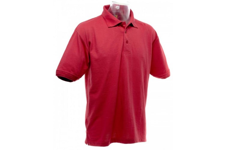 UCC 50/50 Mens Heavyweight Plain Pique Short Sleeve Polo Shirt (Red) (M)