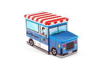 Kids Toy Box Storage Chest Children Chair Stool Book Organiser Ice Cream Truck