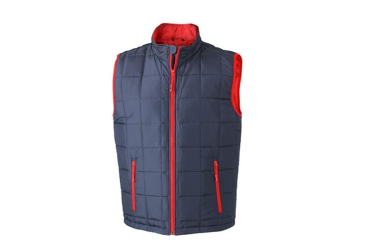 James and Nicholson Mens Padded Lightweight Vest (Navy/Red) (3XL)