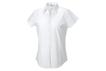 Russell Collection Ladies/Womens Cap Sleeve Easy Care Fitted Shirt (White)