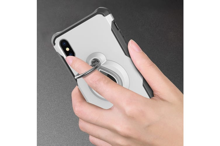 For iPhone XS Max Cover Dropproof Protective Ring Holder Mobile Phone Case Black