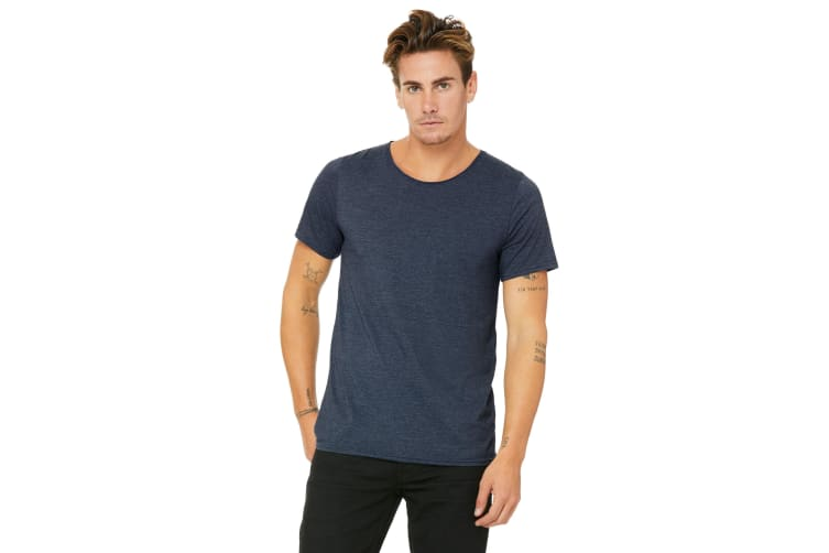 Bella + Canvas Unisex Raw Neck T-Shirt (Heather Navy) (XXL)