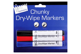 Just Stationery Chunky Dry-Wipe Board Markers (Pack Of 3) (Multicoloured) (One Size)