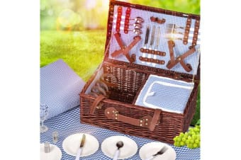 Deluxe 4 Person Picnic Basket Baskets Set Outdoor Blanket Park Trip