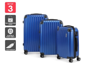 Orbis 3 Piece Tahiti Spinner Luggage Set (Blue)