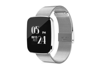 TODO Bluetooth V4.0 Smart Watch Heart Rate Blood Pressure Ip67 0.96 Oled - Silver Metal