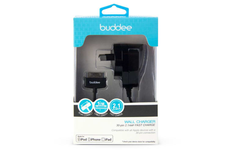 Buddee 1M 30 Pin AC Wall Charger/Adapter Plug Black for Apple/iOS/iPhone/iPod