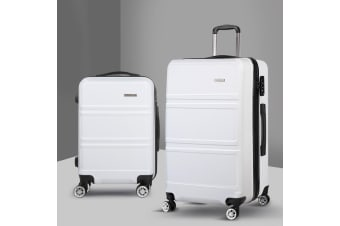2pc Luggage Sets Suitcase White Trolley Set TSA Hard Case Lightweight