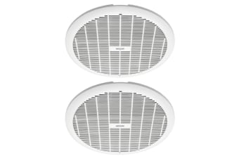 2x Heller 250mm Exhaust Ball Bearing Fan Bathroom Ventilation Ceiling Round WHT
