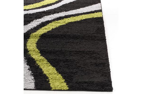 Stylish Curves Shag Rug Black Green 330x240cm