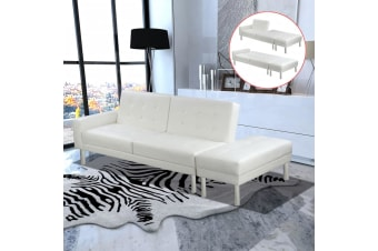 vidaXL Sofa Bed Artificial Leather White