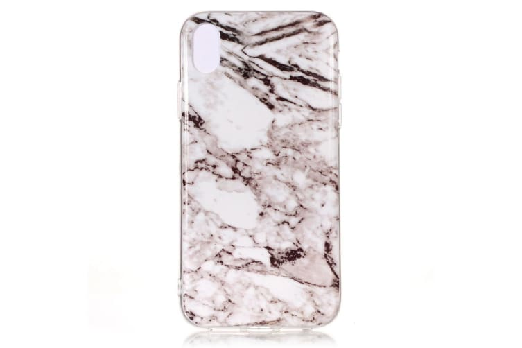 For iPhone XS MAX Case Marble Pattern TPU Shockproof Thin Protective Cover White