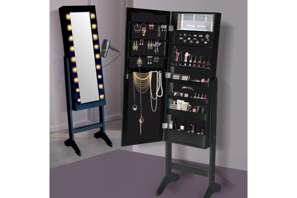 Full Length Mirror Jewellery Cabinet Makeup Storage With Led Light