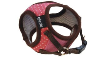 Gloria Adjustable Dotted Touch Fastening Dog Chest Harness (Pink) (X Small - 17-22 x 20-25cm)