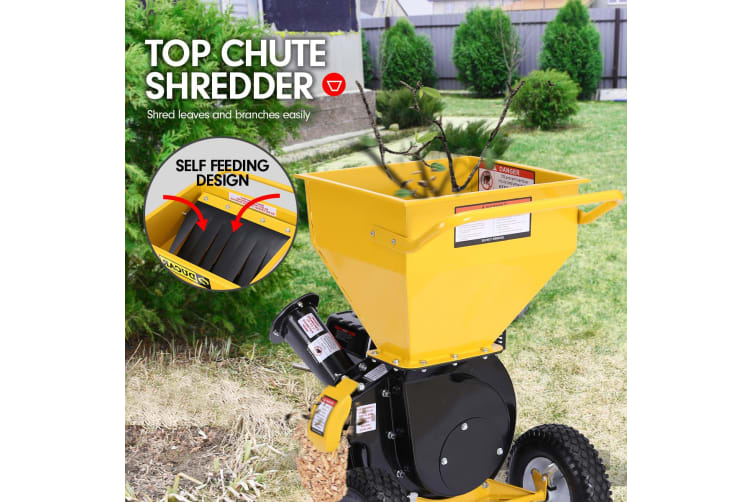 Ducar 8HP Wood Chipper Shredder Mulcher Grinder Petrol Yellow Black