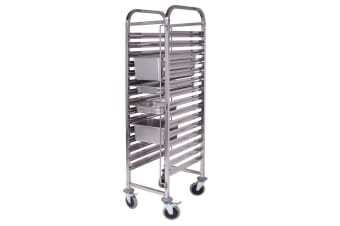 SOGA Gastronorm Trolley 15 Tier Stainless Steel Bakery Trolley Suits GN 1/1 Pans