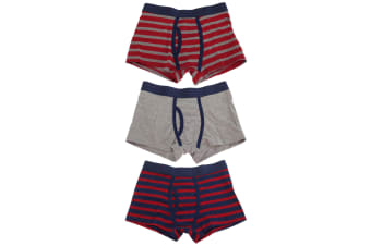 Tom Franks Boys Trunks With Keyhole Underwear (3 Pack) (Red/Navy/Grey)