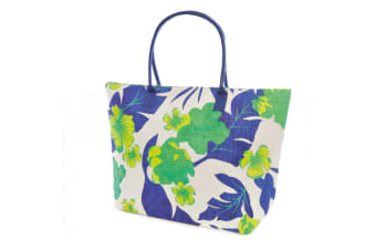 Womens/Ladies Woven Floral/Leaf Pattern Summer Handbag (Green/Blue) (One Size)