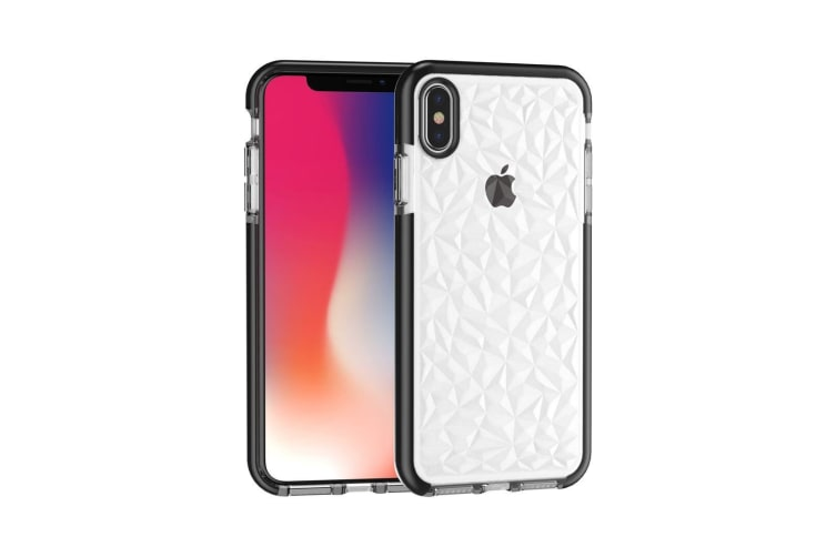 For iPhone XS MAX Cover Diamond Textured Thin Shockproof Mobile Phone Case Black