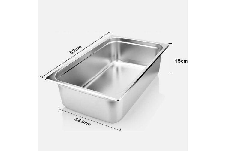 SOGA 6X Gastronorm GN Pan Full Size 1/1 GN Pan 15cm Deep Stainless Steel Tray With Lid