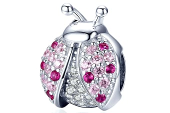 .925 Pink Beetle with CZ Charm