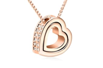 Double Heart Pendant Necklace With Austrian crystal RoseGold