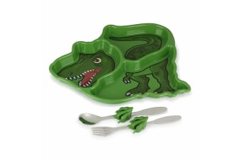 Kids Funwares Me Time Meal Set T-Rex Spoon/Plate/Fork Dinosaur Children/Kids