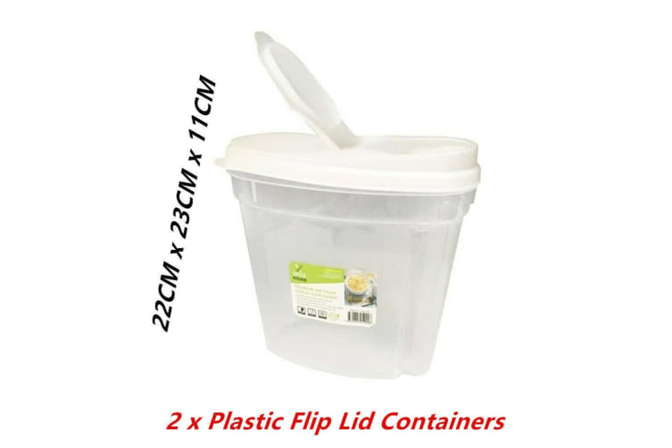 2 x Plastic Flip Lid Food Storage Container BPA Free Cereal Dry Box Bin Jug Clear