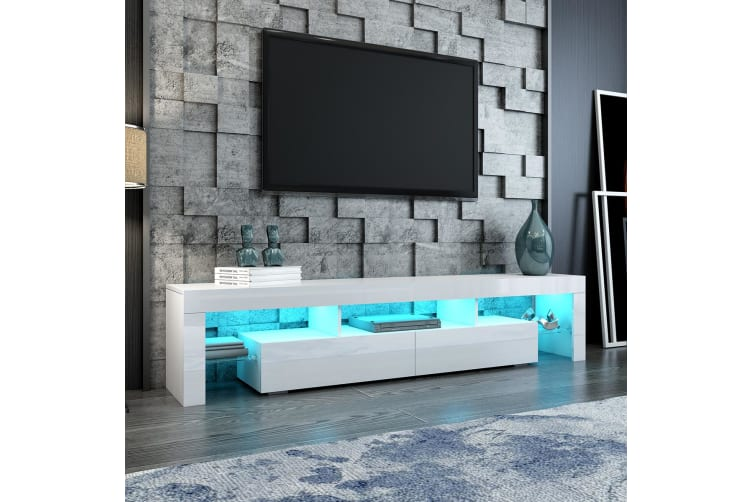 White TV Cabinet Television Stand Furniture Console Table 2 Drawers LED Light