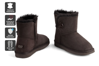 Outback Ugg Boots Mini Button - Premium Sheepskin (Chocolate, 6M / 7W US)