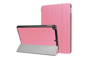 For iPad 2018 2017 9.7in Case Stylish Karst Textured 3-fold Leather Cover Pink