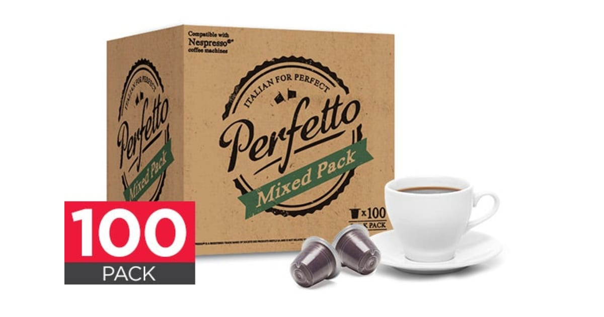 100 pack perfetto nespresso compatible coffee pods mixed. Black Bedroom Furniture Sets. Home Design Ideas